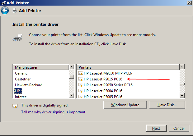 HP P2015dn printer does not work in windows 7