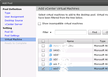 select your virtual desktop machine