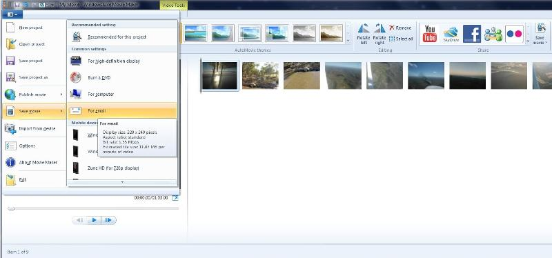 windows live moviemaker save for email