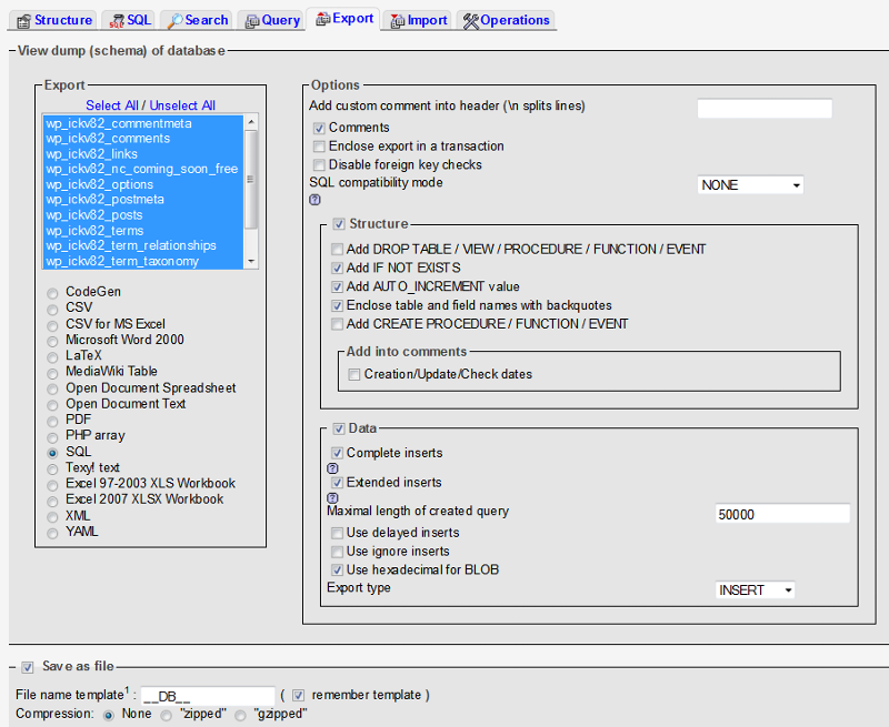 phpMyAdmin Older Versions Interface