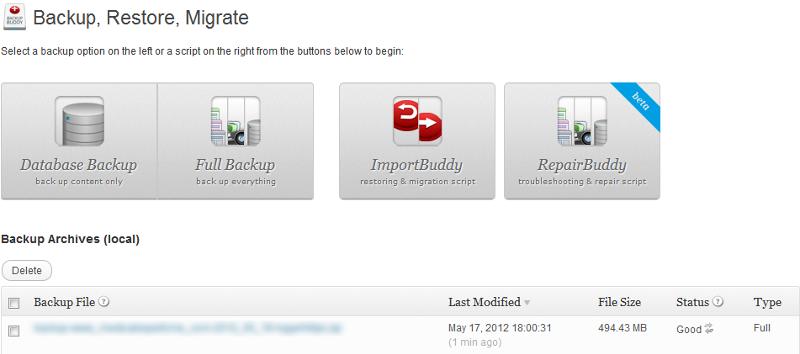BackupBuddy's Backup and Migration screen