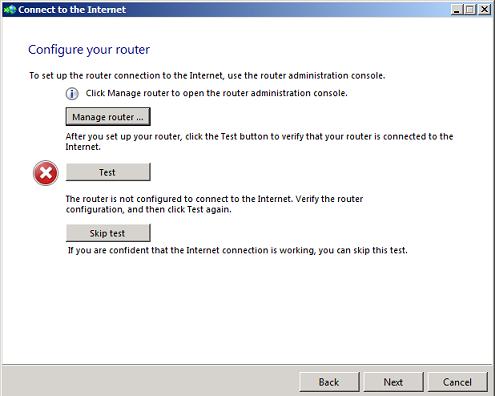 Windows SBS 2008 internet connection wizard error