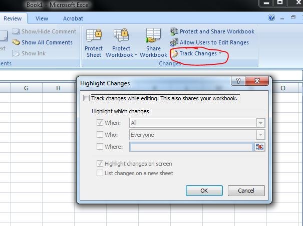 Excel 2010 Track Changes