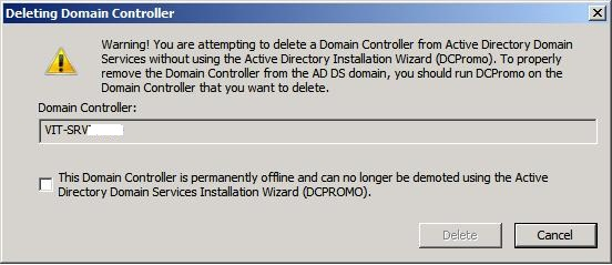 Dialog Box - Delete a DC