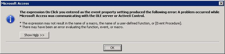 Error prompted by clicking command button