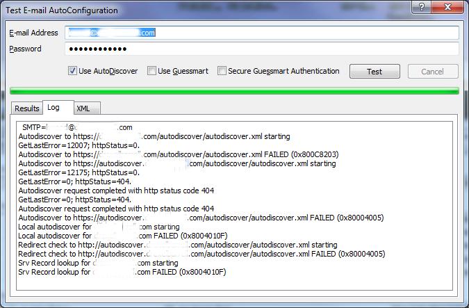 Test E-mail Configuration log