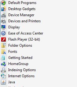 Adobe Flash in Control Panel (as menu)