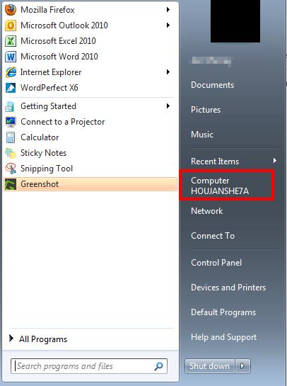 start menu computer name