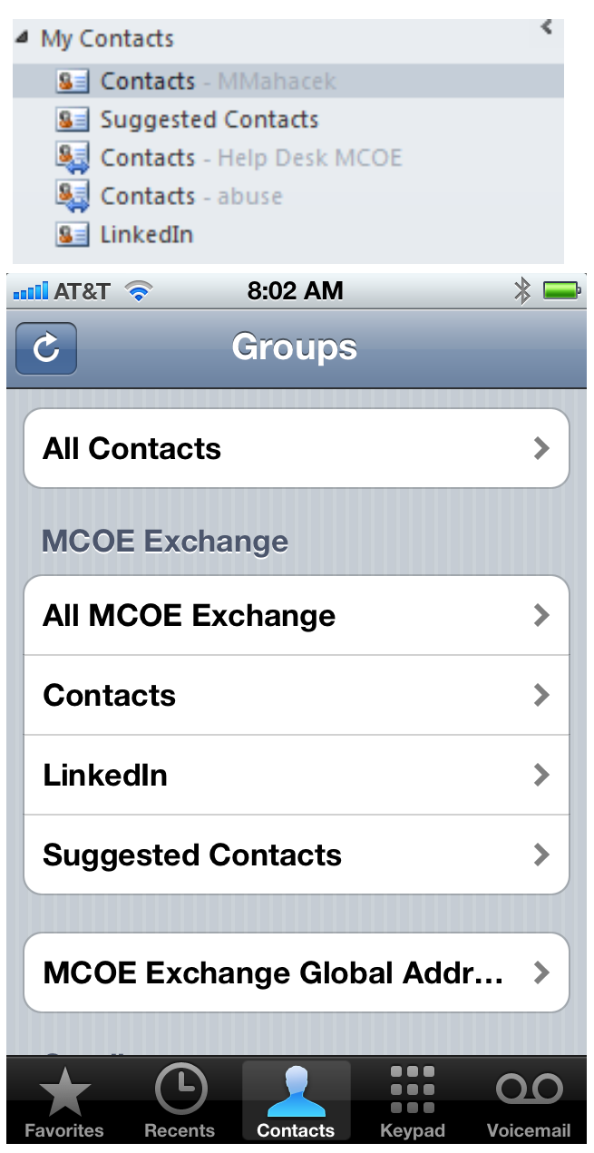 Contacts screen shot