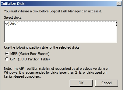 Initialise Disk