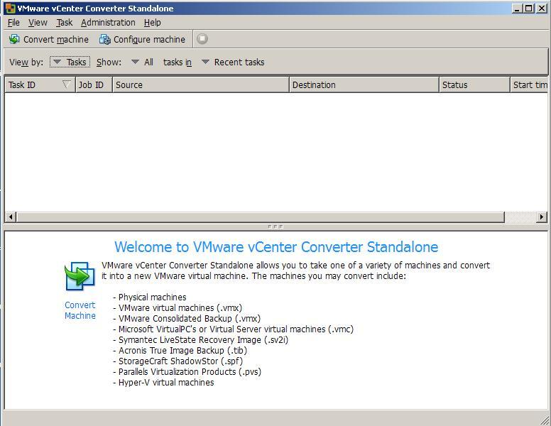 Using VMware vCenter Converter Standalone to create a V2V