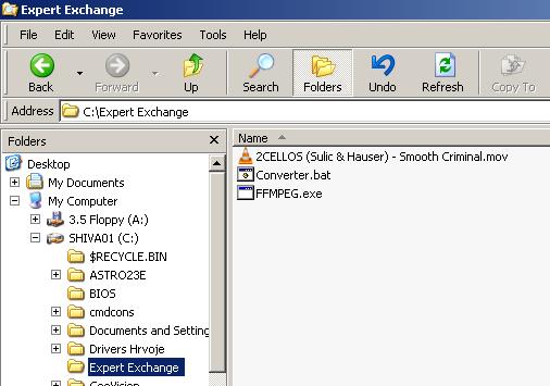 3 files in an empty folder