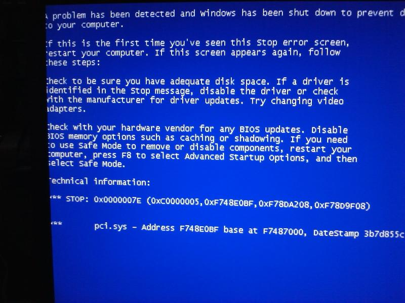 BSOD points to pci.sys.