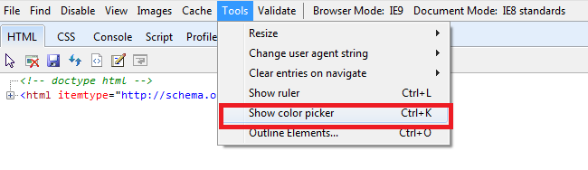 IE Developer Tools