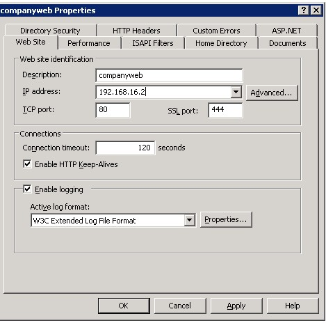 Companyweb IIS configuration