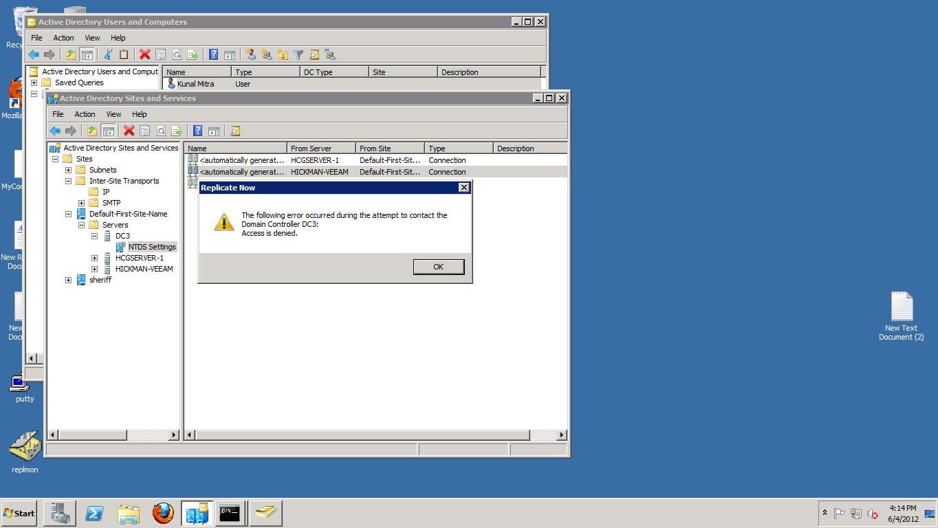 Access Denied on Server Replication