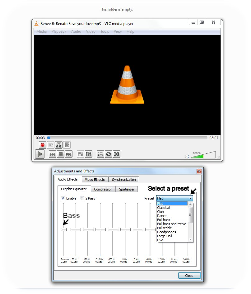 change equalizer to lower bass in vlc player