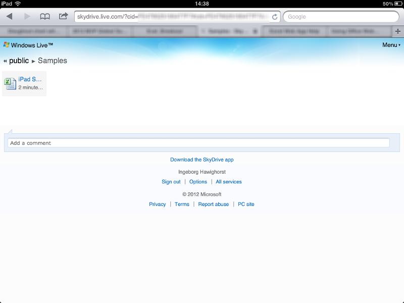 iPad Skydrive screen