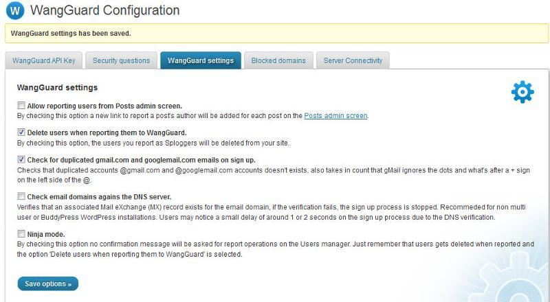 WangGuard Configuration Screen