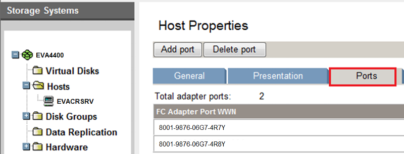 Host Properties with Ports