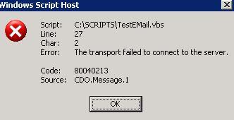 SMTP Transport Error