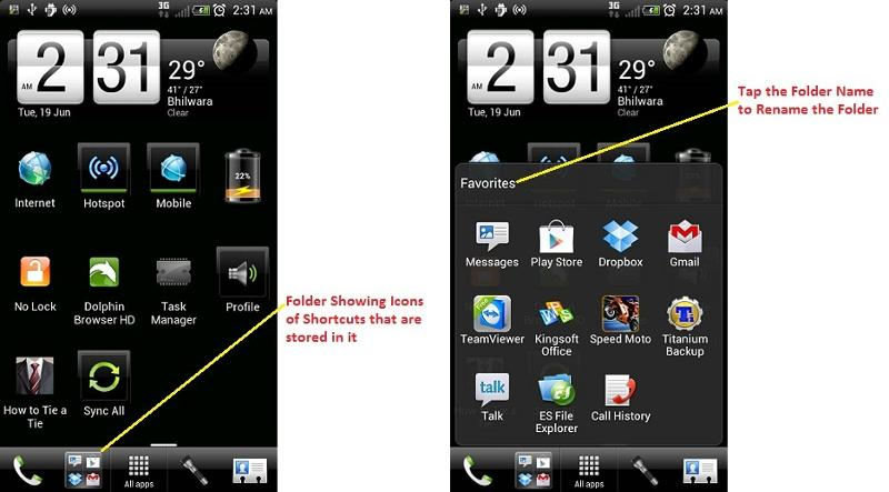 Folders on Home Screen in ICS