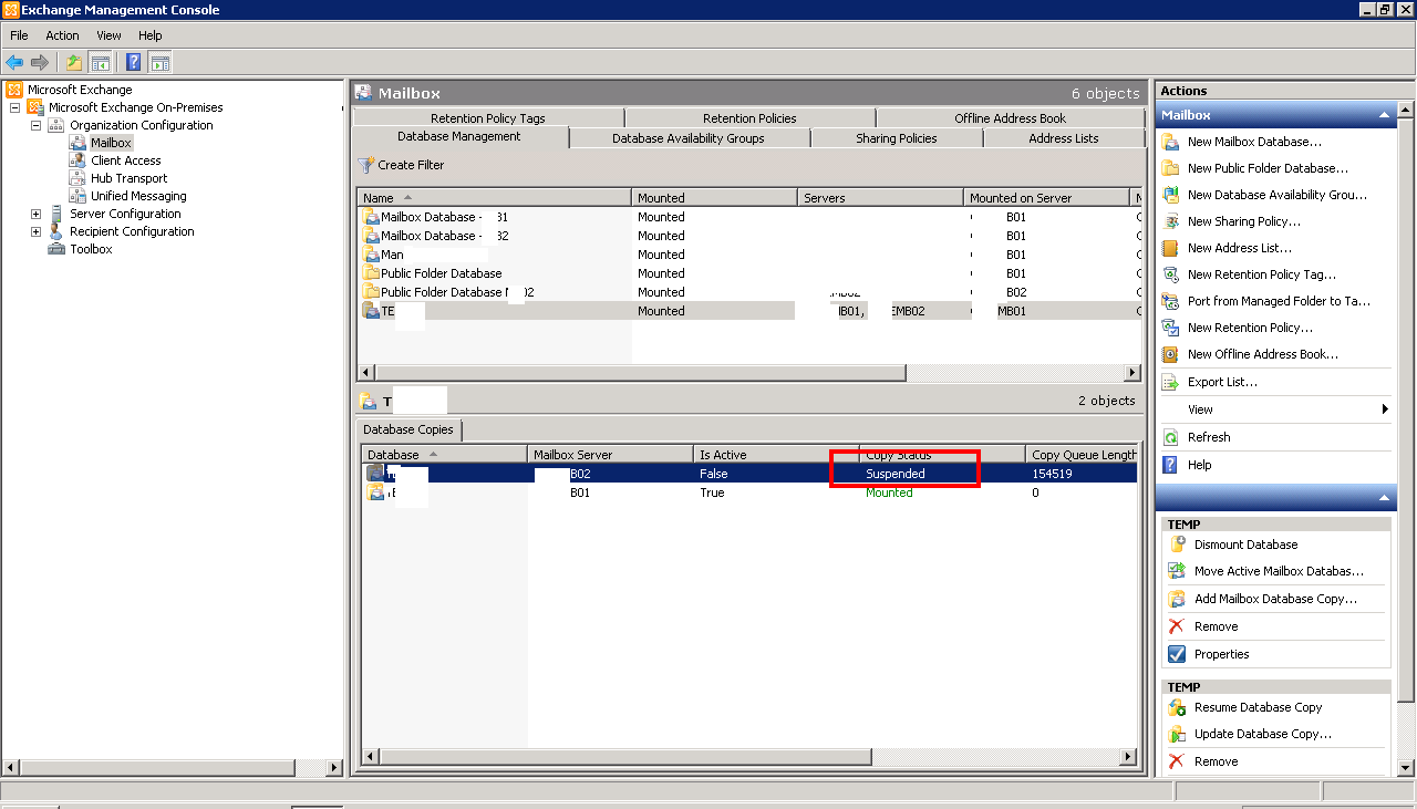 Solution Unable To Create Database Copy In Dag Exchange 2010