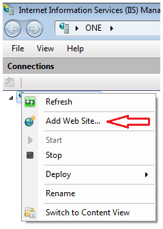 IIS context menu to add web site