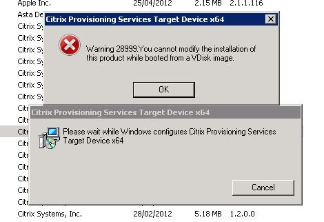 Uninstall Citrix Provisioning Services Target Device x64