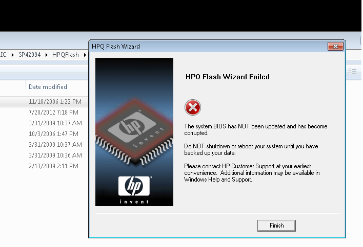 HP DC5800 stuck in boot block recovery mode