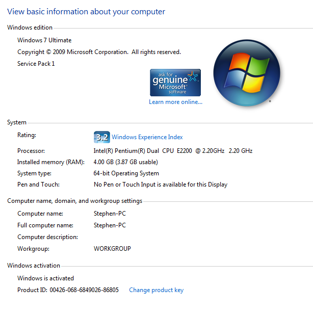 microsoft windows 7 ultimate 64 bit service pack 2