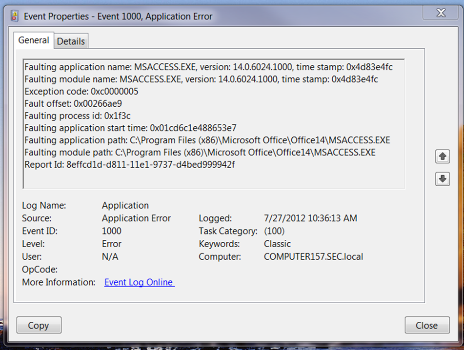 MS Access 2010 crashing with exception code 0xc0000005