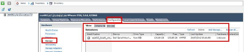 Storage View from the vSphere Client