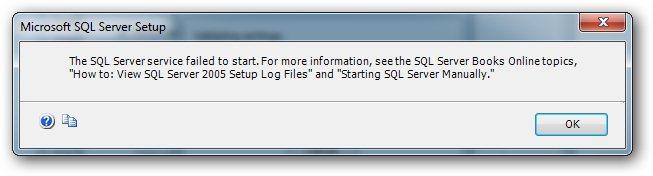 SQL failed