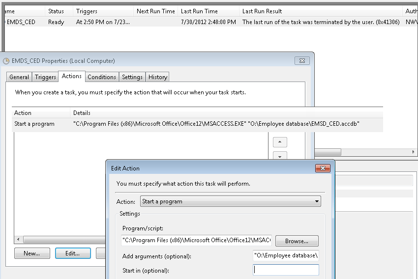Running Task Scheduler Win7 - run Access database