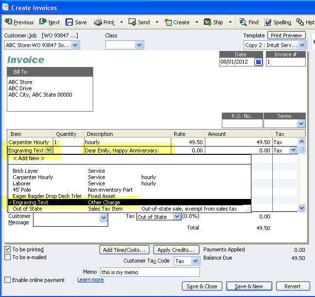 Quickbooks Adding Memo Note To Invoice Template - Quickbooks invoice memo field