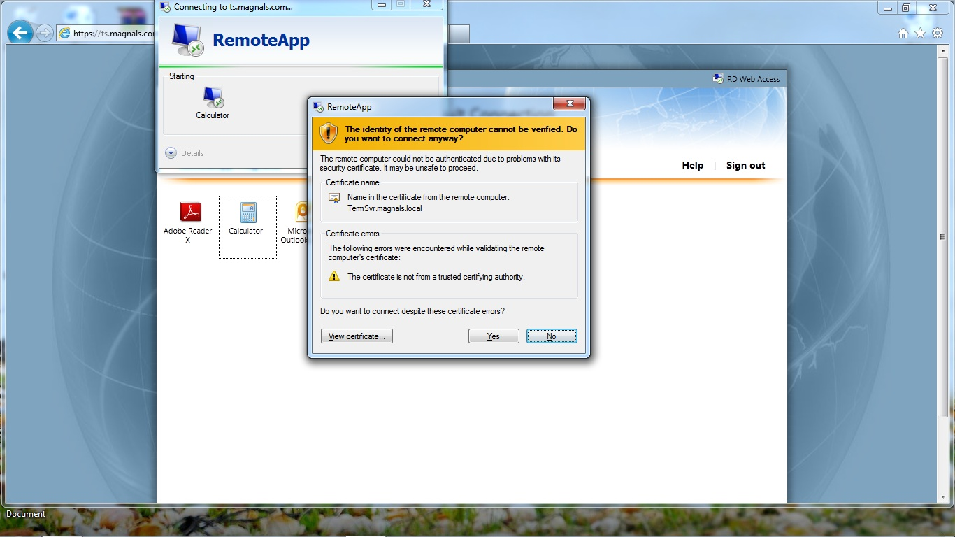 Solution Remote App Certificate Error
