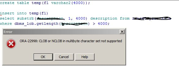 Oracle CLOB Substring function crashes
