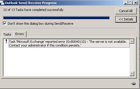 New Outlook Exchange Error