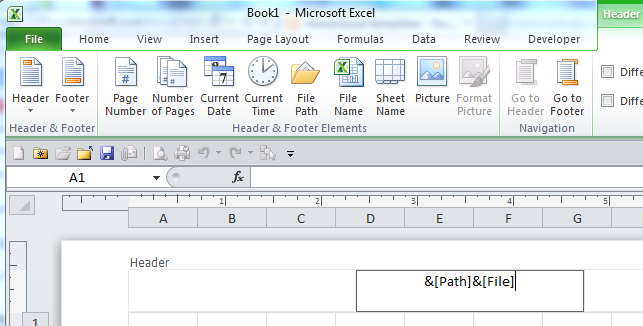 excel header with file path