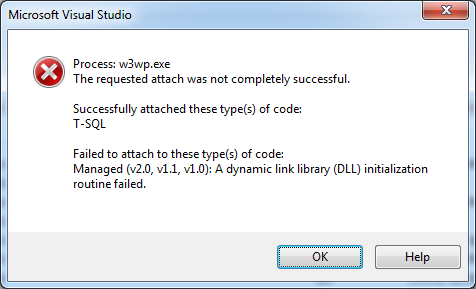 Unable to attach to the process  MSDIS160 dll cannot be loaded
