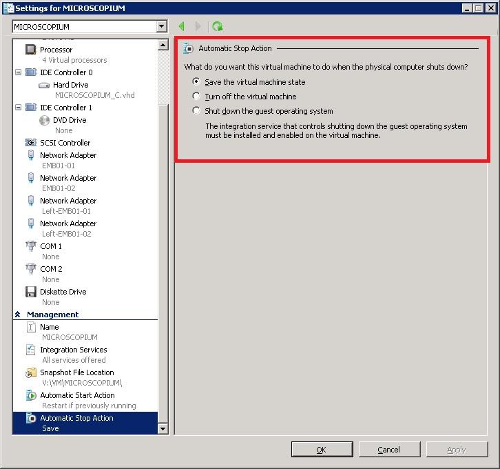 VM settings