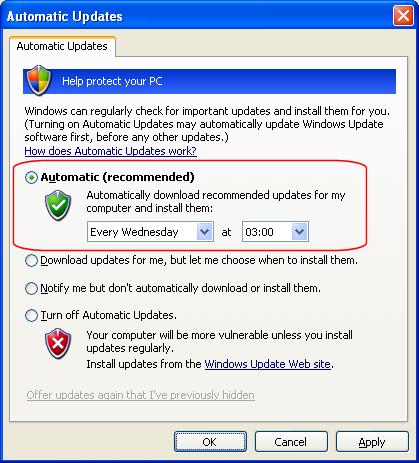 XP - Auto Update Wednesdays at 3am