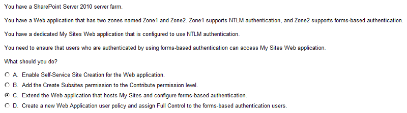 Forms authentication-SharePoint 2010- My Sites