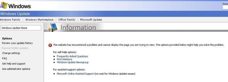 Windows Custom Update Error