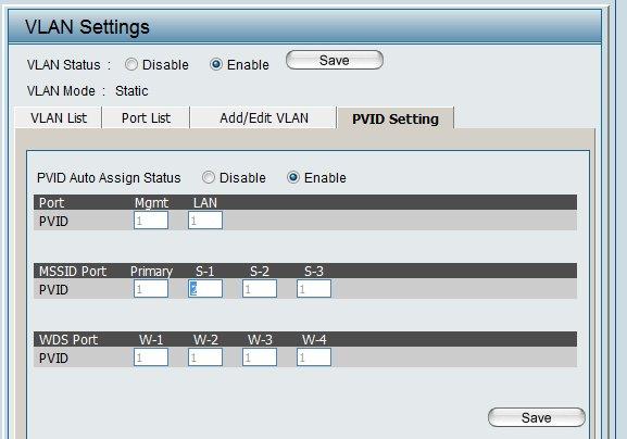 PVID setting