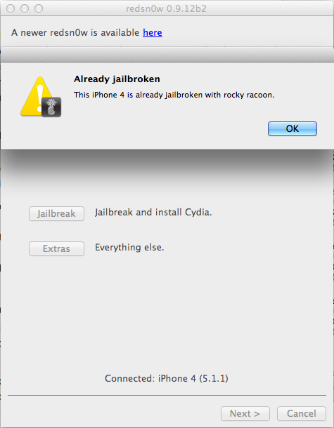 Redsn0w detects jailbroken iDevice