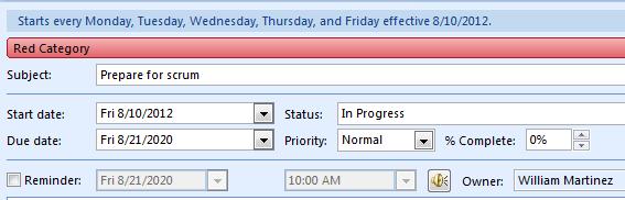 Outlook task setup