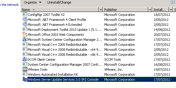 SCCM 2007: cannot install extra site system (for WSUS)