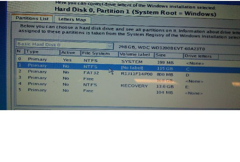 the part high lighted in the partition that has user folder created by factory restore...
